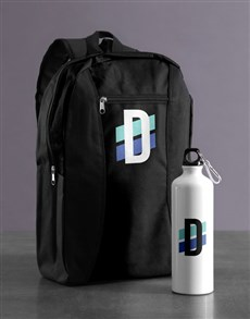gifts: Personalised Initial Backpack & Waterbottle!