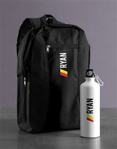 gifts: Personalised Racing Stripe Backpack & Waterbottle!