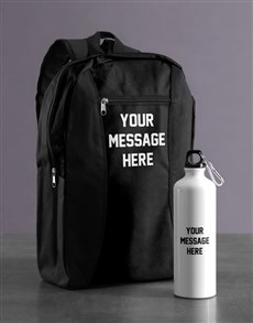 gifts: Personalised Message Backpack & Waterbottle!