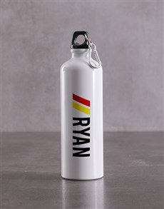 gifts: Personalised White Racing Stripe Waterbottle!
