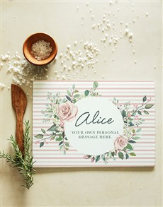 gifts: Personalised Floral Pink Glass Chopping Board!