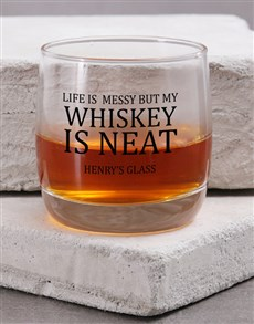 gifts: Personalised Life is Messy Whiskey Glass!