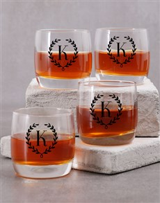 gifts: Personalised Mongram Wreath Whiskey Glass!