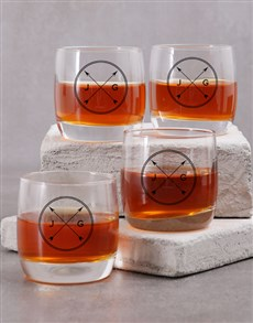 gifts: Personalised Couples Initials Whiskey Glass!