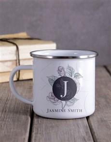 gifts: Personalised Floral Monogram Camper Mug!