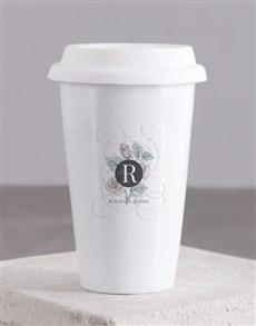 gifts: Personalised Floral Mongogram Ceramic Travel Mug!