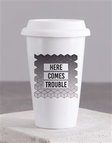 gifts: Personalised Here Comes Ceramic Travel Mug!