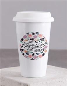 gifts: Personalised Beautiful Mom Ceramic Travel Mug!