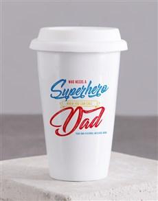 gifts: Personalised Superhero Dad Ceramic Travel Mug!