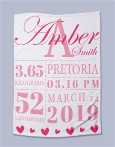 gifts: Personalised Baby Girl Birth Bed Set!