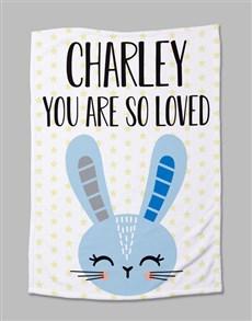 gifts: Personalised Bunny Baby Fleece Blanket!