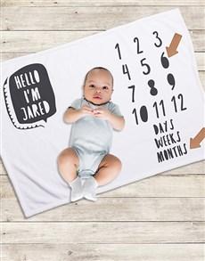 gifts: Personalised Hello Milestone Blanket!