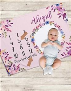 gifts: Personalised Floral Milestone Blanket!