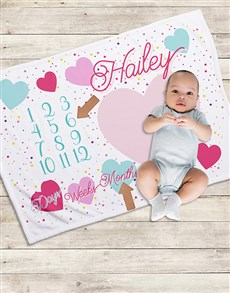 gifts: Personalised Hearts Milestone Blanket!