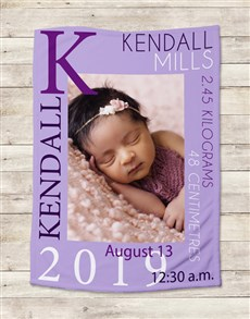 gifts: Personalised Baby Girl Birth Blanket!