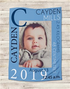 gifts: Personalised Baby Boy Birth Blanket!