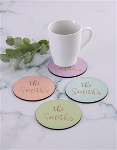 gifts: Personalised Family Name Coaster Set!