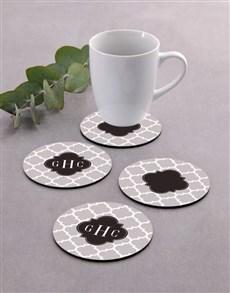 gifts: Personalised Monogram Coaster Set!