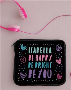 gifts: Personalised Neoprene Be Bright Tablet Cover!