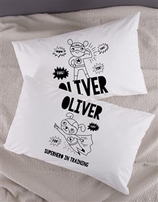 gifts: Personalised Superhero Pillow Case Set!