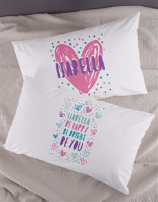 gifts: Personalised Bright Heart Pillow Case Set!