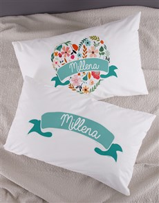 gifts: Personalised Floral Heart Pillowcase Set!