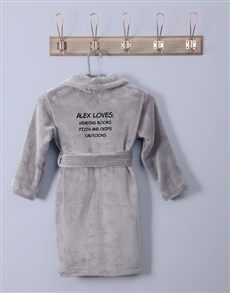 gifts: Personalised Favourites Grey Fleece Gown!