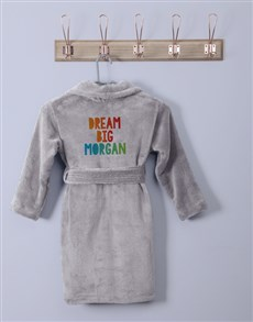 gifts: Personalised Dream Big Grey Fleece Gown!