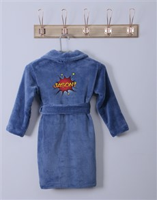 gifts: Personalised Super Blue Fleece Gown!