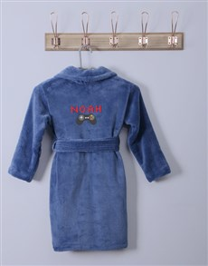 gifts: Personalised Remote Blue Fleece Gown!