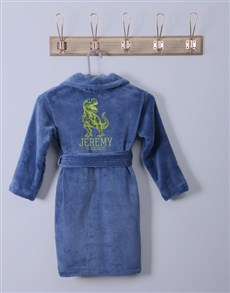 gifts: Personalised Trex Blue Fleece Gown!
