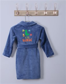 gifts: Personalised Monster Blue Fleece Gown!