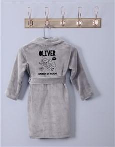 gifts: Personalised Superhero Grey Fleece Gown!