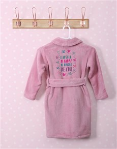 gifts: Personalised Bright Heart Pink Fleece Gown!