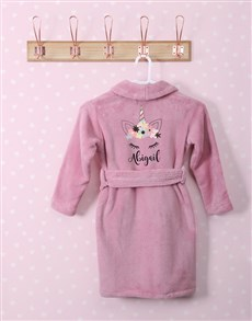gifts: Personalised Unicorn Sparkle Pink Fleece Gown!