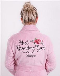 gifts: Personalised Best Grandma Vintage Pink Fleece Gown!