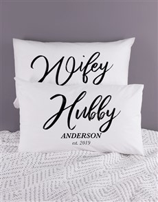 gifts: Personalised Hubby and Wifey Pillowcase Set!