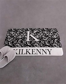 gifts: Personalised Floral Family Name Bath Mat!