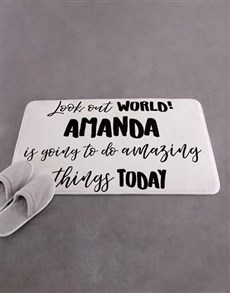gifts: Personalised Look Out World Bath Mat!