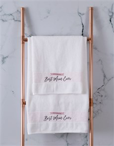 gifts: Personalised Best Mom White Towel Set!