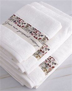 gifts: Personalised Botanic White Towel Set!