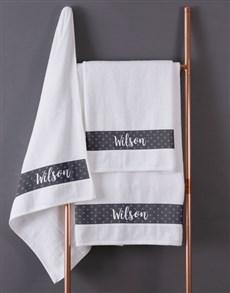 gifts: Personalised Polka Dot White Towel Set!