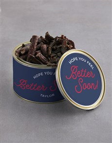 gifts: Personalised Feel Better Biltong Tin With Chocs!