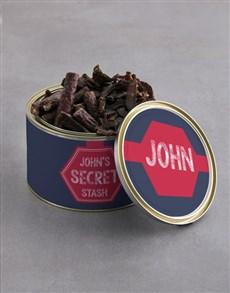 gifts: Personalised Secret Stash Biltong Tin With Chocs!