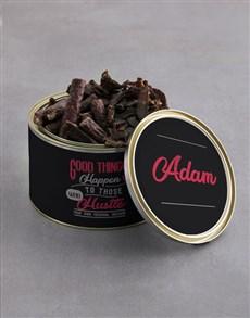 gifts: Personalised Good Things Biltong Tin With Chocs!