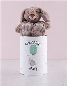 gifts: Personalised Welcome Baby Teddy Tin!
