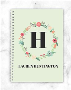gifts: Personalised Floral Wreath Notebook!