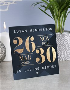 gifts: Personalised Sympathy Dates Glass Tile!