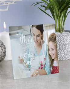 gifts: Personalised Mom Best Day Ever Glass Tile!