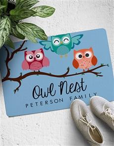 gifts: Personalised Owl Nest Doormat!